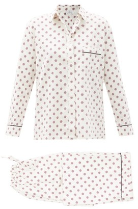 POUR LES FEMMES Snowflake-print Cotton-sateen Pyjamas - Burgundy Print
