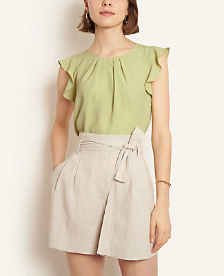 Ann Taylor Mixed Media Pleated Flutter Sleeve Shell Top