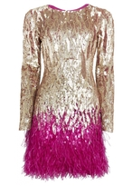 Matthew Williamson Gold Liquid Sequin Feather Trimmed Mini Dress