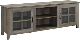 Hewson 70In Traditional Wood Glass Door Console