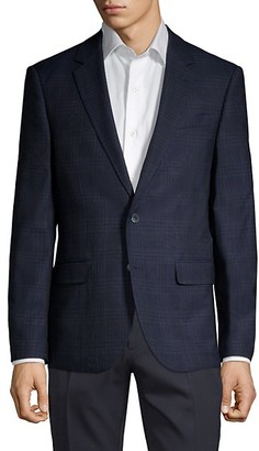Karl Lagerfeld Paris Plaid Wool Blend Jacket