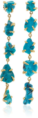 Lisa Eisner One of a Kind Blue Gem Five Drop Turquoise Nugget Earrings