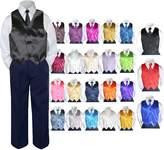 Leadertux 4pc Baby Toddler Boy Formal Suit Tuxedo NAVY Pants Shirt Vest Necktie Set 5- (Size:, )