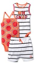 "Lamaze 3-Piece ""Oh Snap"" Organic Cotton Bodysuit and Short Set"