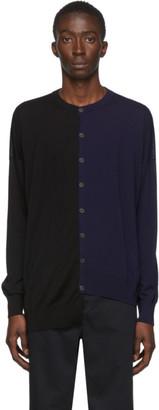 Loewe Black and Navy Asymmetric Cardigan