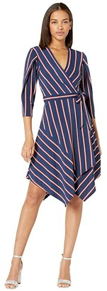 BCBGMAXAZRIA Stripe Matte Jersey Wrap Dress (Pacific Blue/Valet Stripe) Women's Dress