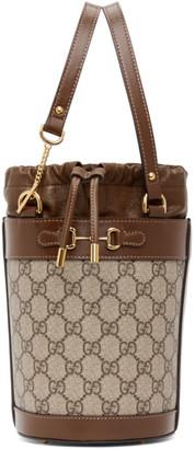 Gucci Beige Small GG 1955 Horsebit Bucket Bag