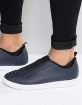 Asos Slip On Sneakers in Navy With Elastic
