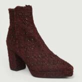 Castaner Burgundy Tweed Leather Olivia Ankle Boots - tweed leather | burgundy | 36 - Burgundy