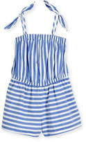 Milly Minis Striped Chambray Romper, White/Blue, Size 4-7
