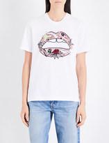 Markus Lupfer Sequin-embellished Flower Lip cotton-jersey T-shirt