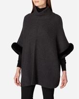 N.Peal Fur Trim Diagonal Rib Cashmere Poncho