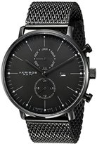 Akribos XXIV Men's AK685BK Swiss Quartz Movement Watch with Black Dial and Stainless Steel Bracelet