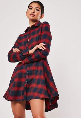 Missguided Red Checked Skater Shirt Dress