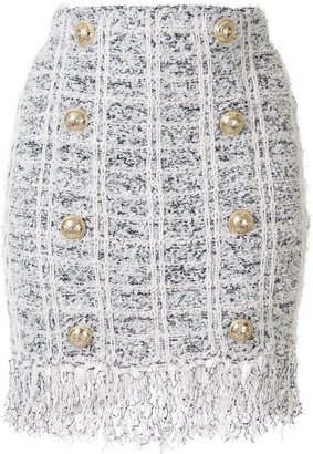Balmain Double Breasted Boucle Mini Skirt
