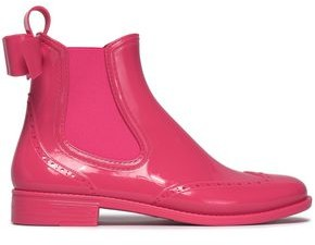 Red(v) Bow-embellished Glossed-rubber Ankle Boots
