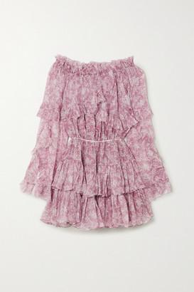 Caroline Constas Dahlia Off-the-shoulder Ruffled Silk-chiffon Mini Dress - Pink