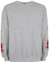 Topman Gray Rose Embroidered Sweatshirt