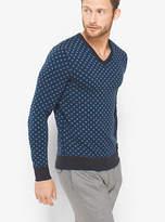 Michael Kors Diamond-Print Merino Wool V-Neck Sweater