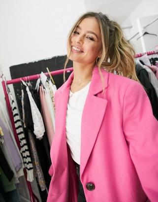 Asos DESIGN grandad coat in pink