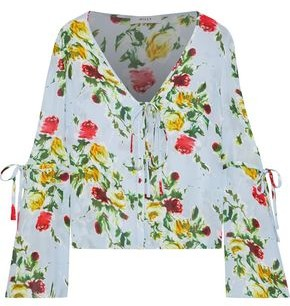 Milly Maggie Floral-print Silk Crepe De Chine Blouse