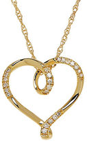 Lord & Taylor Diamond and 14K Yellow Gold Heart Pendant Necklace