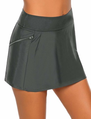 Vetinee Women's Zip Pocket High Waist Bikini Tankini Bottom Swim Skirt Swimsuit - Grey - Large