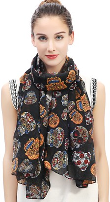 Lina & Lily Day of the Dead Sugar Skull Print Large Scarf Shawl Lightweight (Black)(Size: 180 X 90 cm)