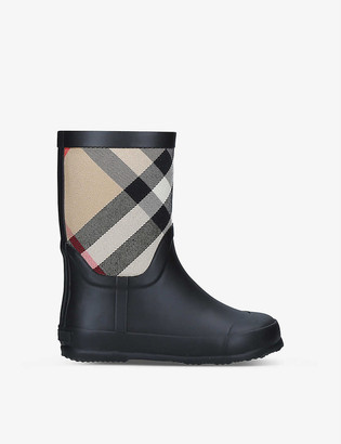 Burberry Ranmoor checked rubber wellington boots 5-9 years