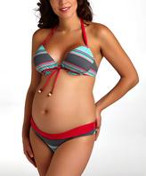 Pez D'or Fuchsia Caribe Striped Maternity Push-Up Bikini