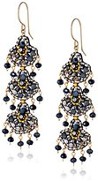 Miguel Ases Cobalt Streak 14k Gold-Filled Triple-Fan Drop Earrings