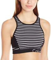 Calvin Klein Women's Pacifica Stripe Back Keyhole Sports Bra