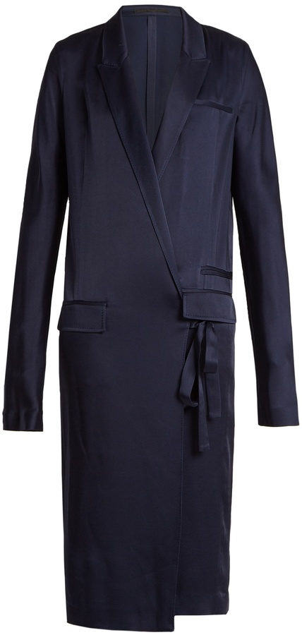 Haider Ackermann Kuiper peak lapel tie-waist satin dress