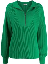 Closed ribbed half-zip jumper
