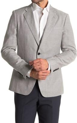 Reiss Soft Blue One Button Notch Lapel Wool & Linen Suit Separates Blazer