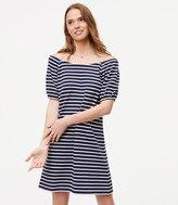 LOFT Striped Puff Sleeve Dress