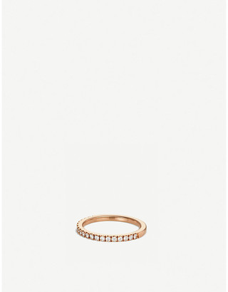 De Beers Classic pink-gold and half pave diamond wedding band, Size: 49mm