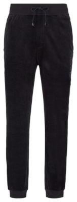BOSS Cuffed-hem loungewear trousers in cotton-blend velour