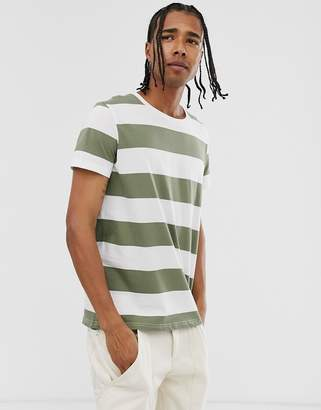Weekday Alex striped t-shirt in green