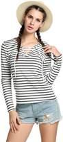 SoForYou SFY Women Fashion Casual Lace Up V Neck Long Sleeve Stripe T Shirt Tops