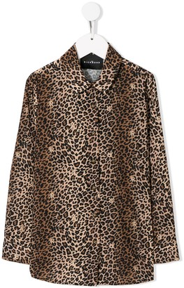 John Richmond Junior Multi Logo Leopard Print Shirt