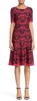 St. John Women's Intarsia Knit Elbow Sleeve Fit & Flare Dress