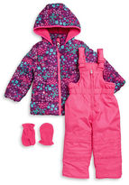 Hawke & Co Baby Girls Floral Puffer Coat, Snowpants and Mittens Set