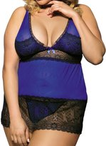 Lookswe Women's Plus Size Babydoll Sexy V-Neck Lace Lingerie with Thong (5XL)