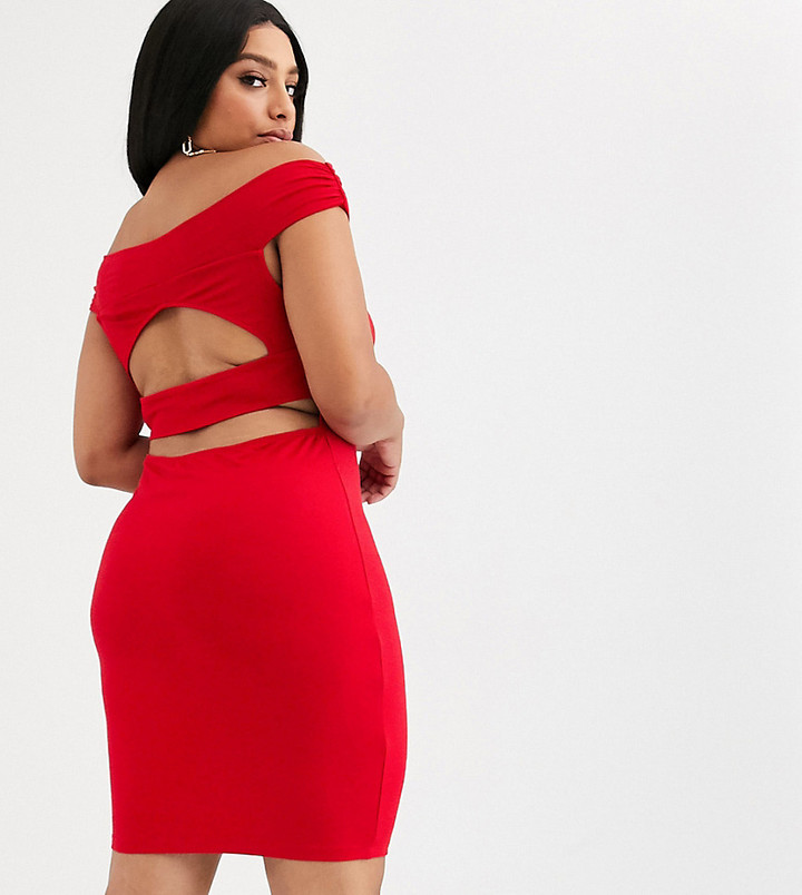 ASOS DESIGN Curve going out bardot cut out back detail mini dress in red