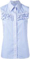 Miu Miu ruffled trim sleeveless striped shirt