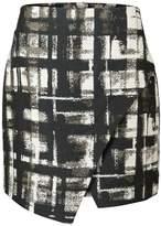 Oliver Bonas Pause Check Metallic Wrap Mini Skirt