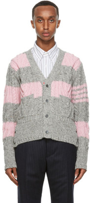 Thom Browne Pink and Grey Stripe Aran Cable 4-Bar Cardigan