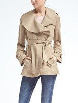Banana Republic Drapey Linen-Blend Flounce Trench
