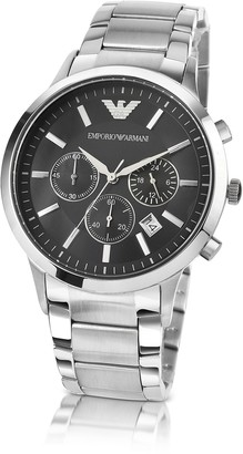 Emporio Armani Black Dial Stainless Steel Men's Chrono Watch